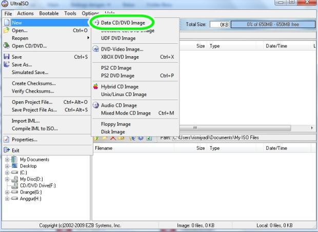 pilih new file yang anda inginkan
